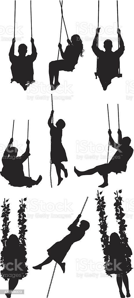 Multiple silhouettes of people on rope swing vector art illustration