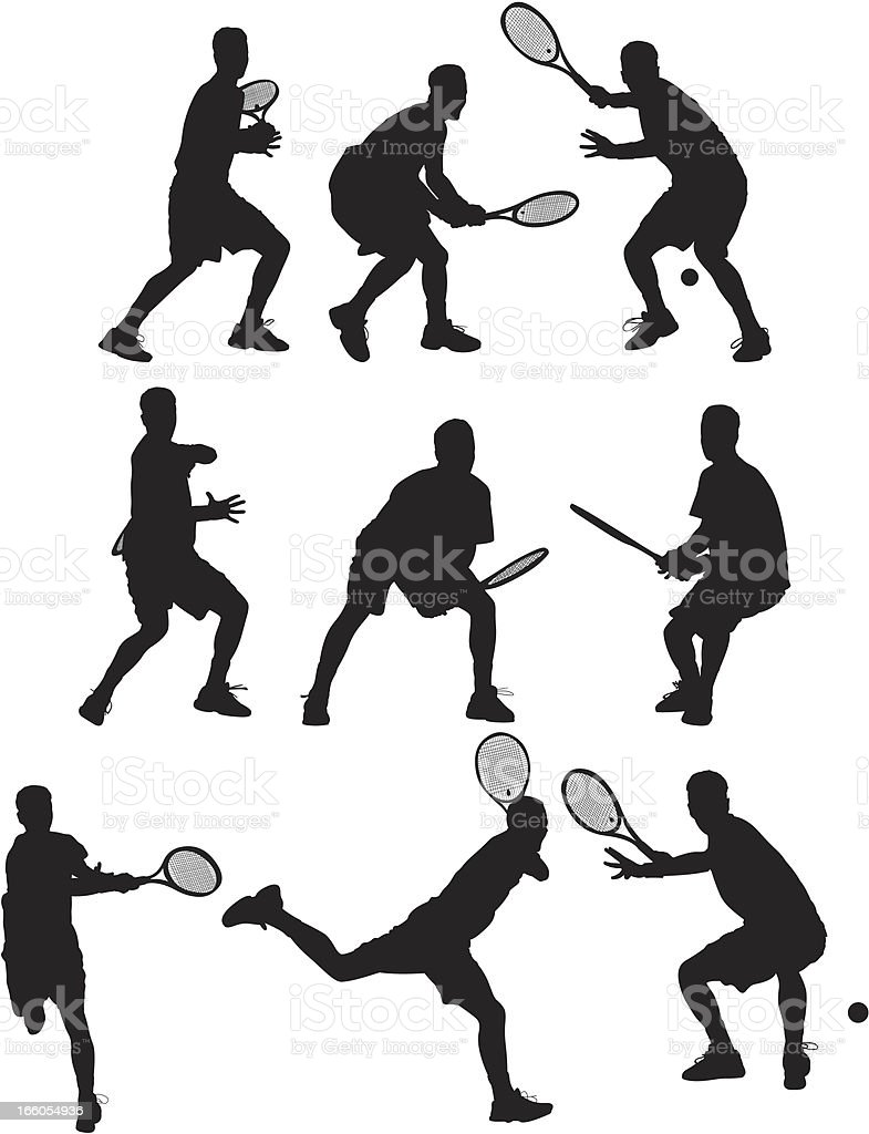 Multiple silhouettes of people playing tennis vector art illustration