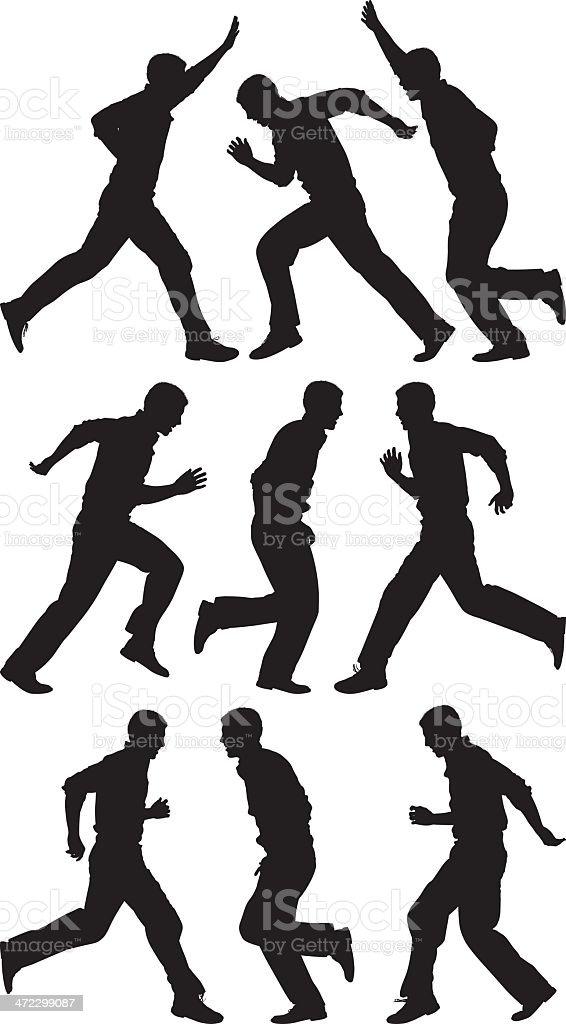 Multiple silhouettes of people running royalty-free stock vector art
