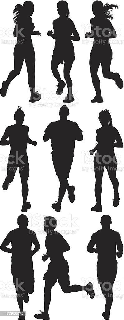 Multiple silhouettes of people running vector art illustration
