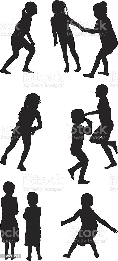 Multiple silhouettes of playful children royalty-free stock vector art