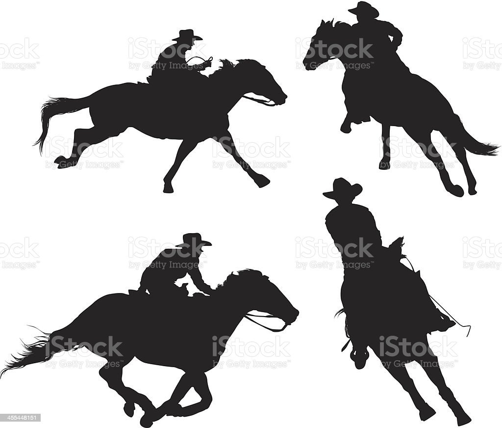Multiple silhouettes of rodeo vector art illustration