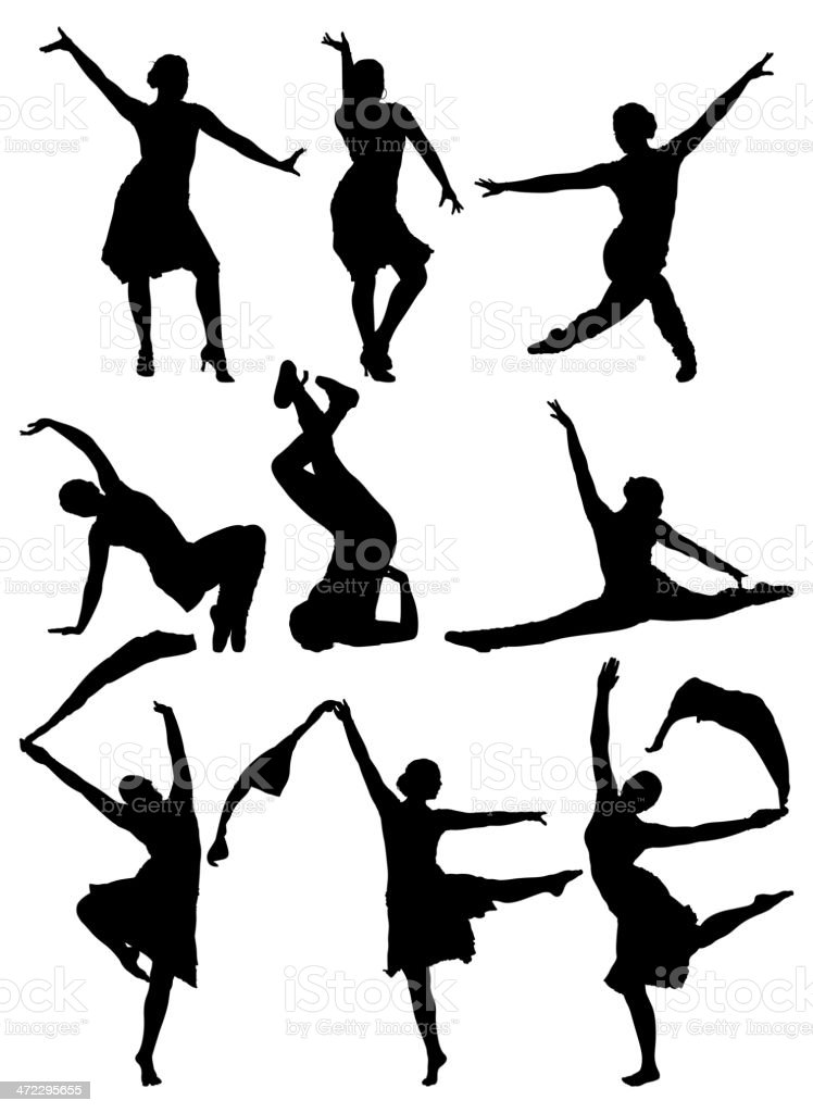 Multiple silhouettes of women dancing royalty-free stock vector art