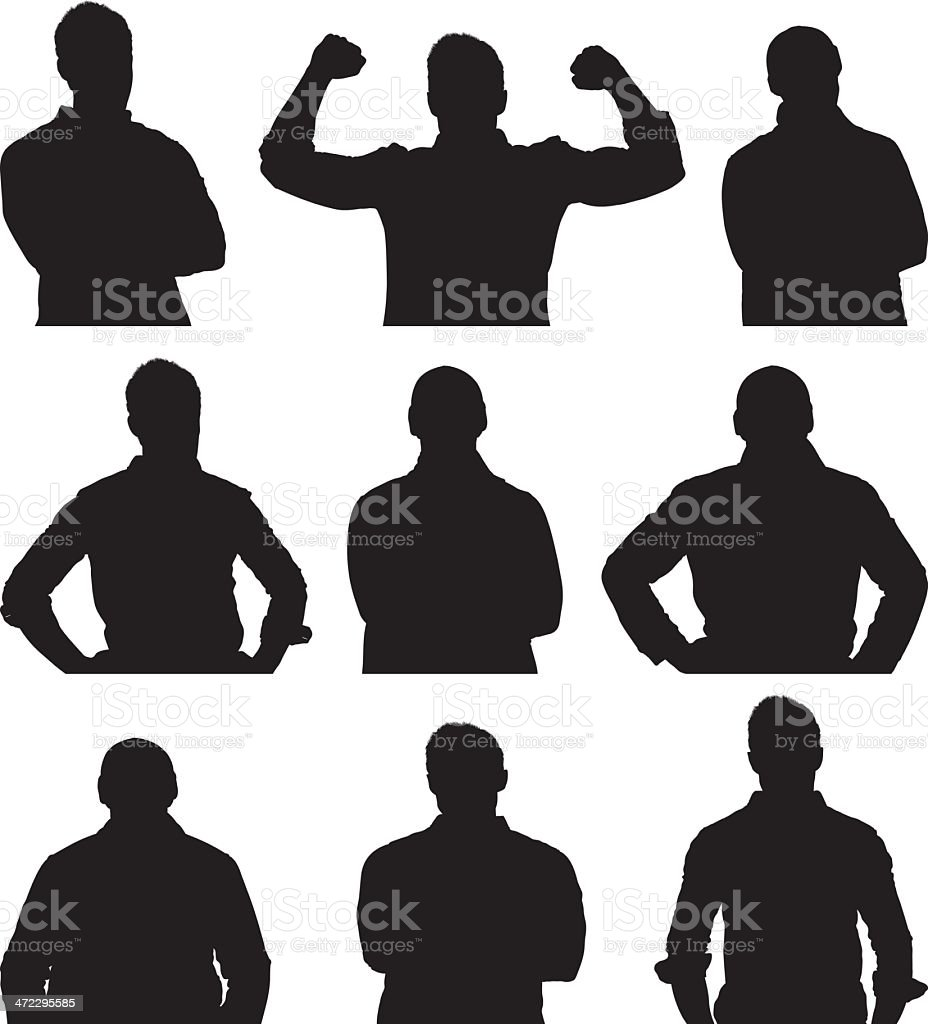 Multiple silhouettes of young man posing royalty-free stock vector art