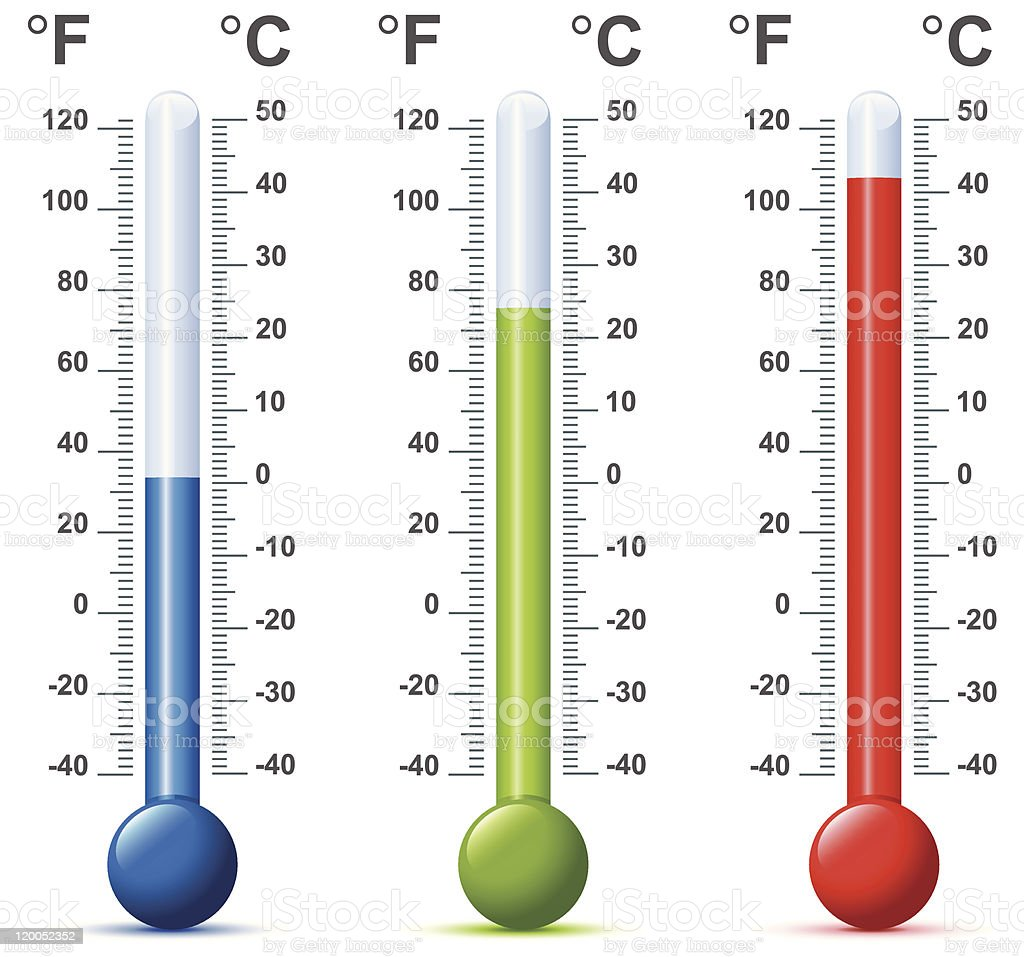 Multiple thermometers in different colors vector art illustration