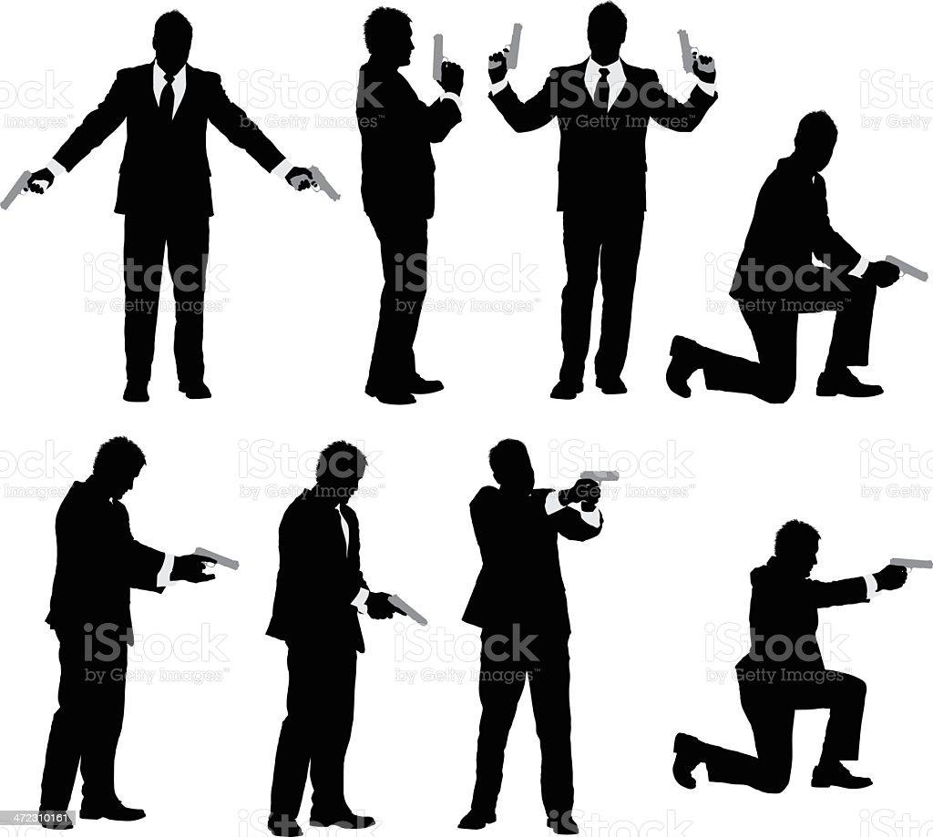Multiple vector of a businessman with handgun royalty-free stock vector art