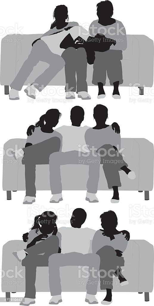 Multiple vector of friends sitting on sofa royalty-free stock vector art