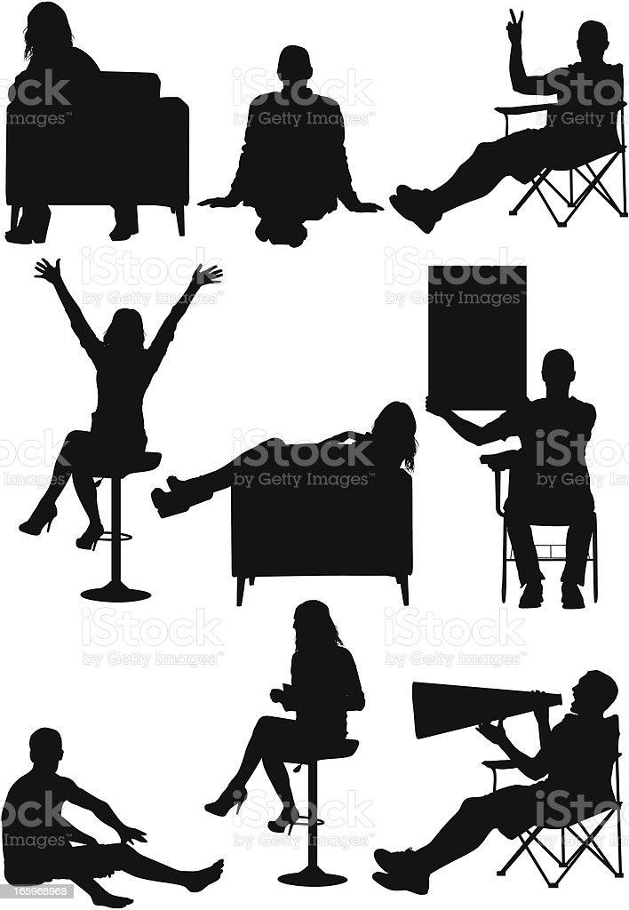 Multiple vector of men and women vector art illustration