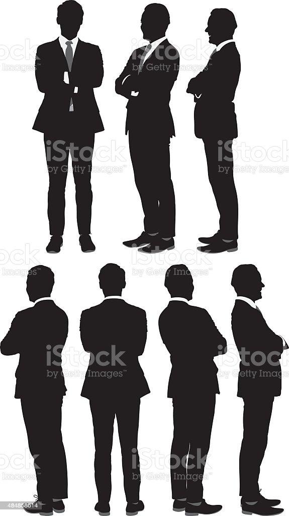 Multiple views of businessman vector art illustration