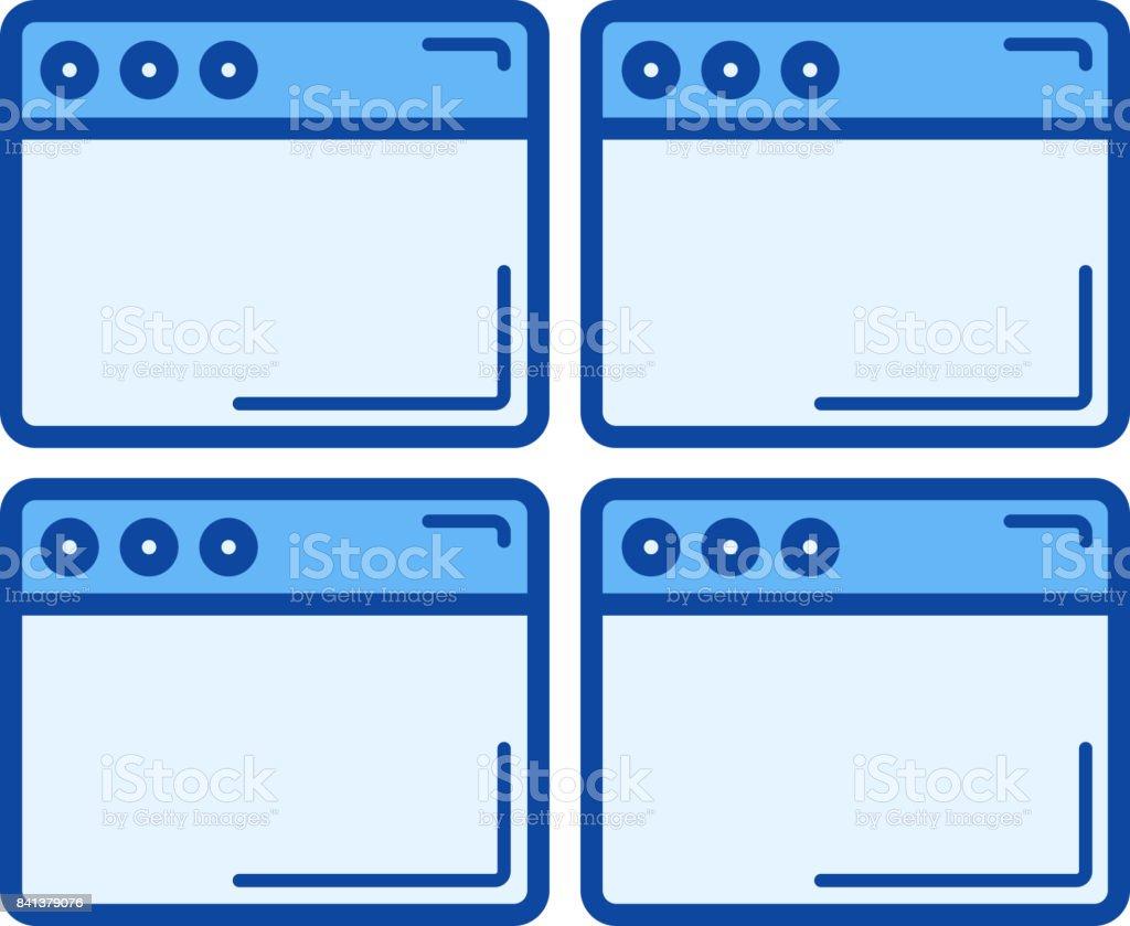 Multiple webpage line icon vector art illustration