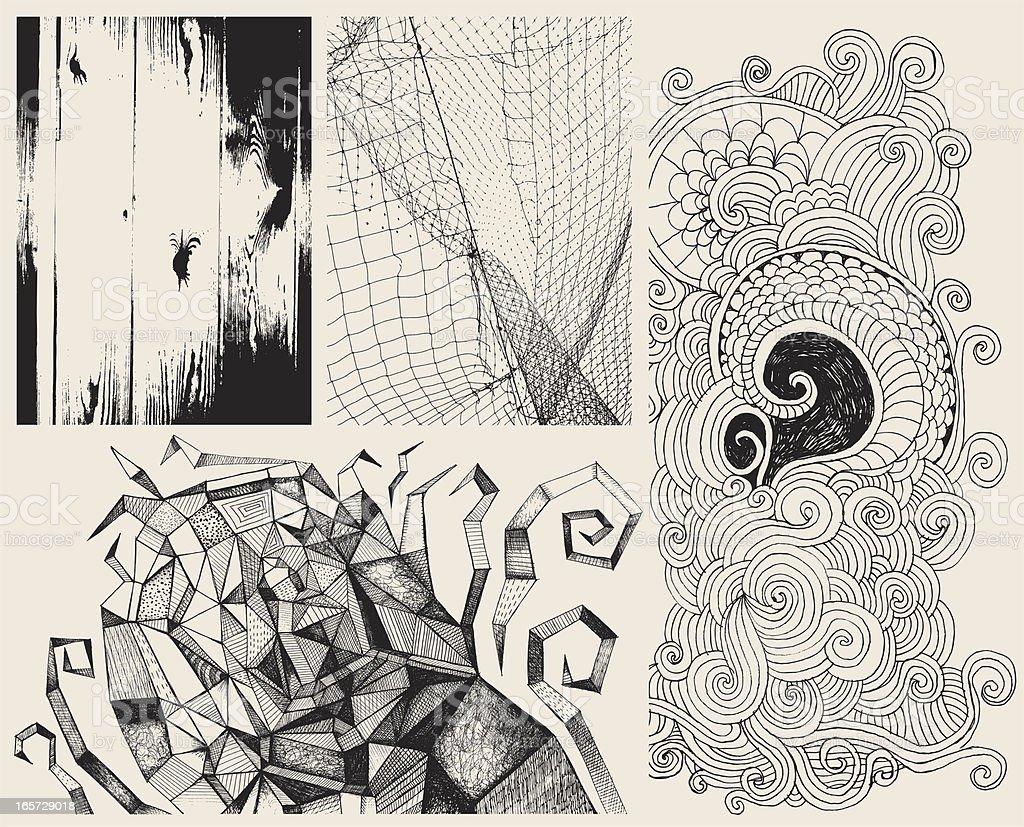 Multiple Zen Tangle doodles on a single background vector art illustration