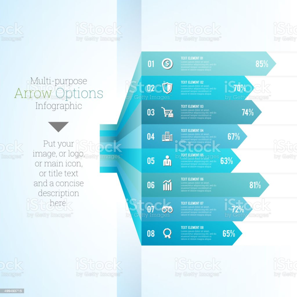 Multipurpose Arrow Option Infographic vector art illustration