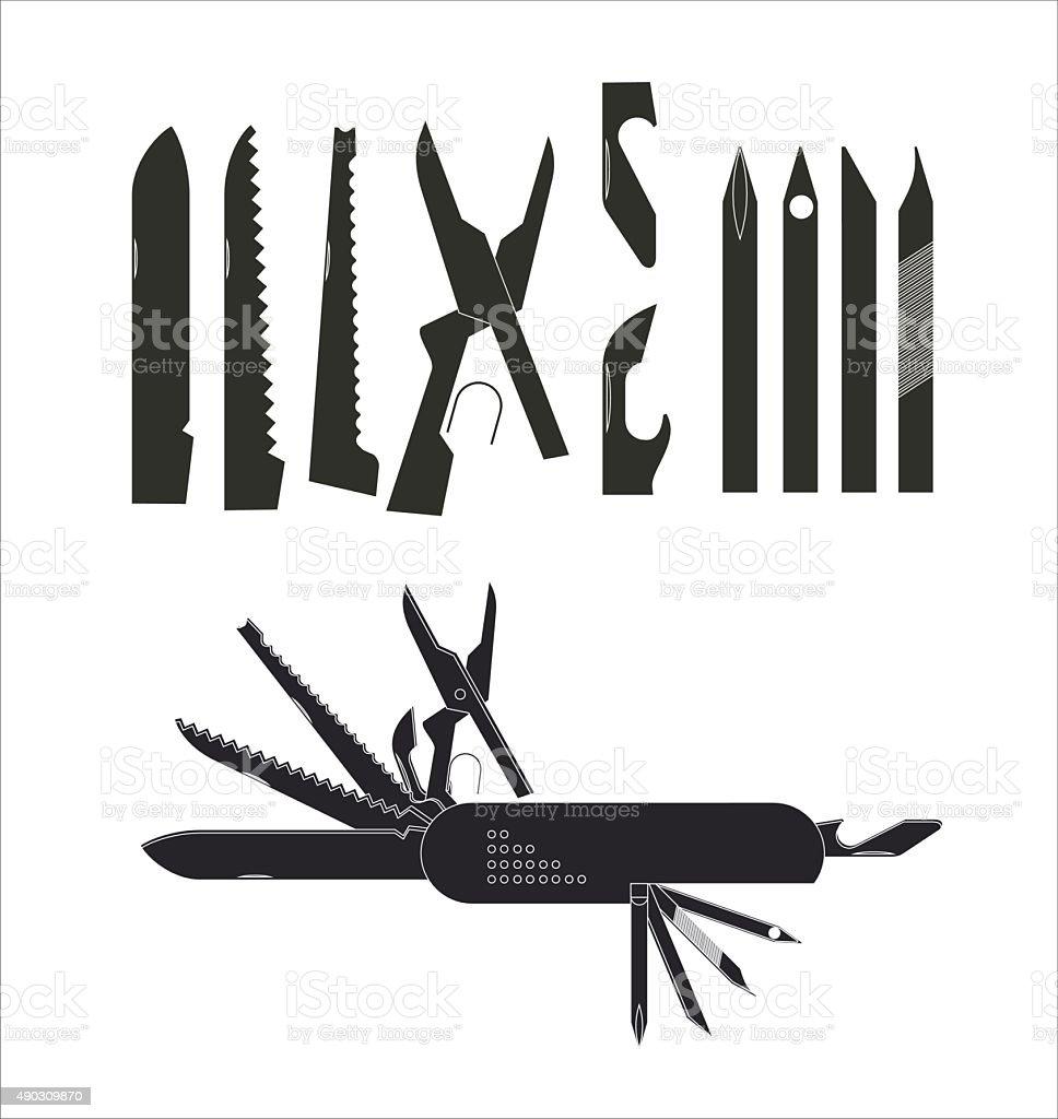 multipurpose knife in silhouette vector art illustration