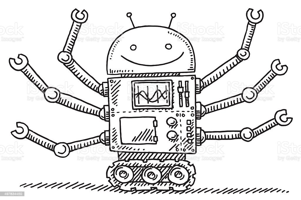 Multi-Purpose Robot Drawing vector art illustration