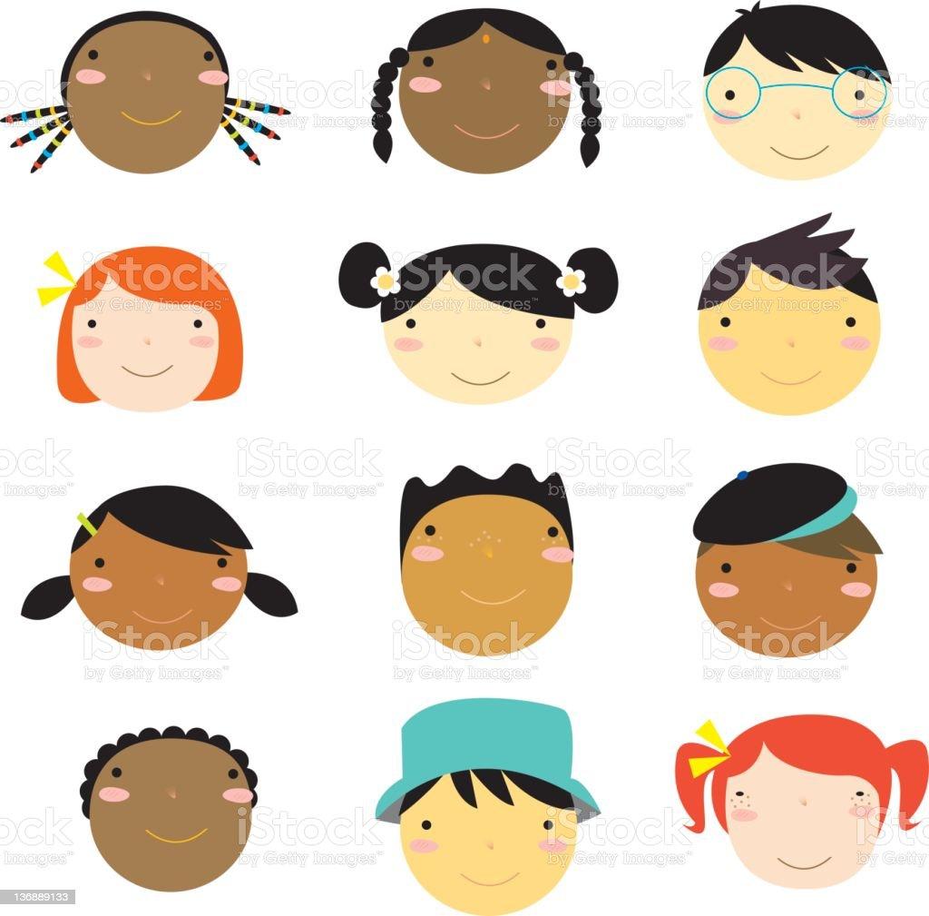 multi-racial faces royalty-free stock vector art