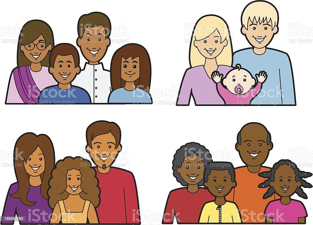 Multiracial Families royalty-free stock vector art