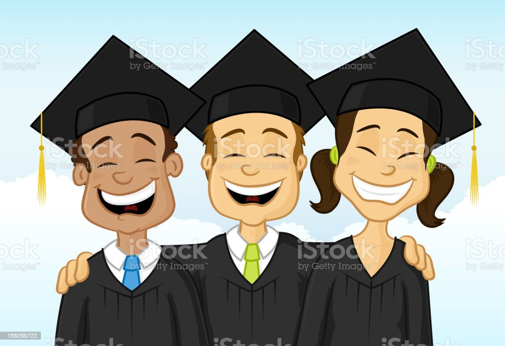 Multiracial graduates vector art illustration