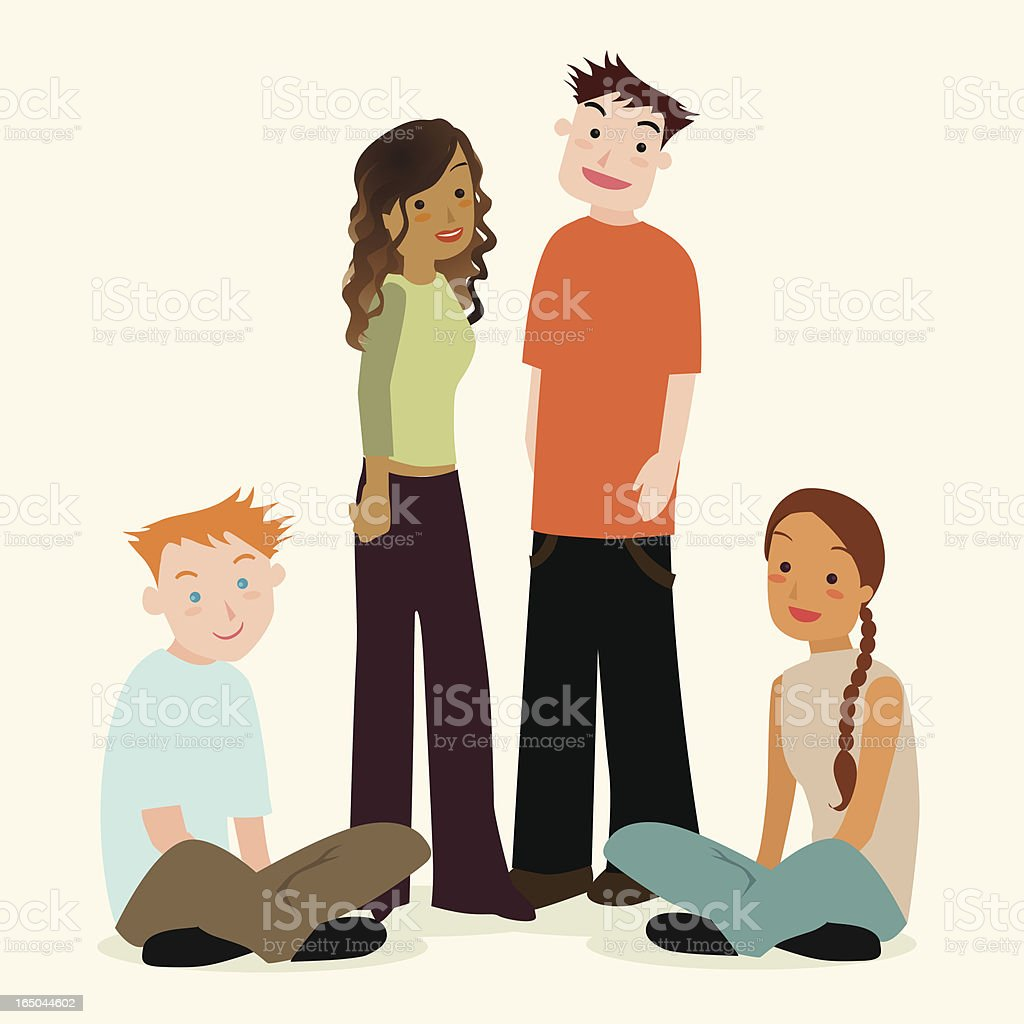 multi-racial teen group vector art illustration