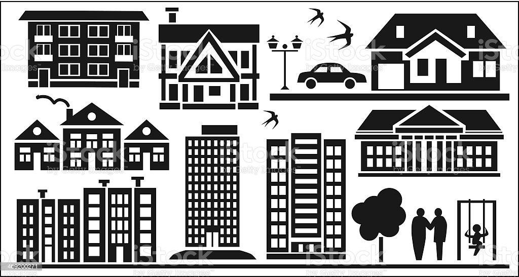 multi-storey buildings royalty-free stock vector art