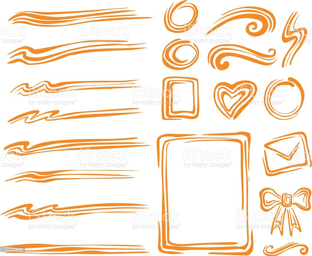 Multi-strokes Design Elements royalty-free stock vector art
