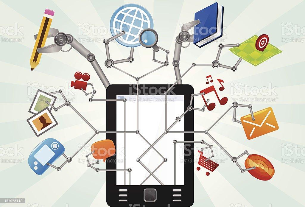 Multitask tablet vector art illustration