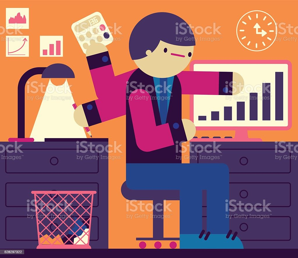 Multitask vector art illustration