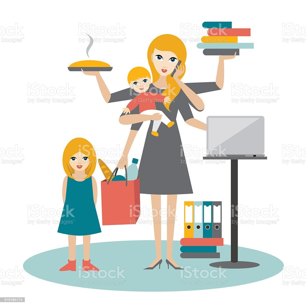 Multitask woman. Mother, businesswoman with baby, older child vector art illustration