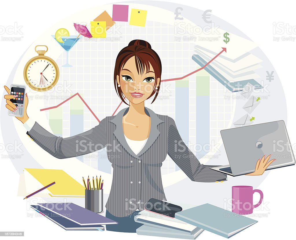 Multi-Tasking Business Woman vector art illustration