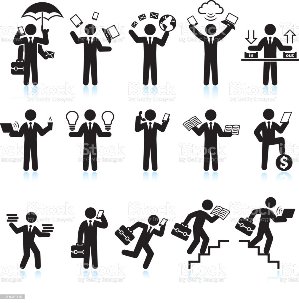 Multitasking Businessman Hectic Life black & white vector icon set royalty-free stock vector art
