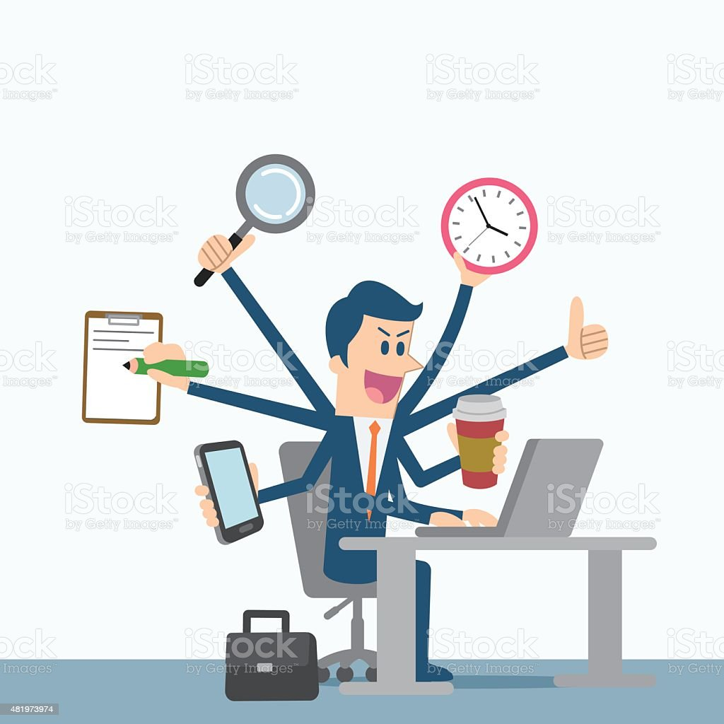 Multitasking businessman vector art illustration