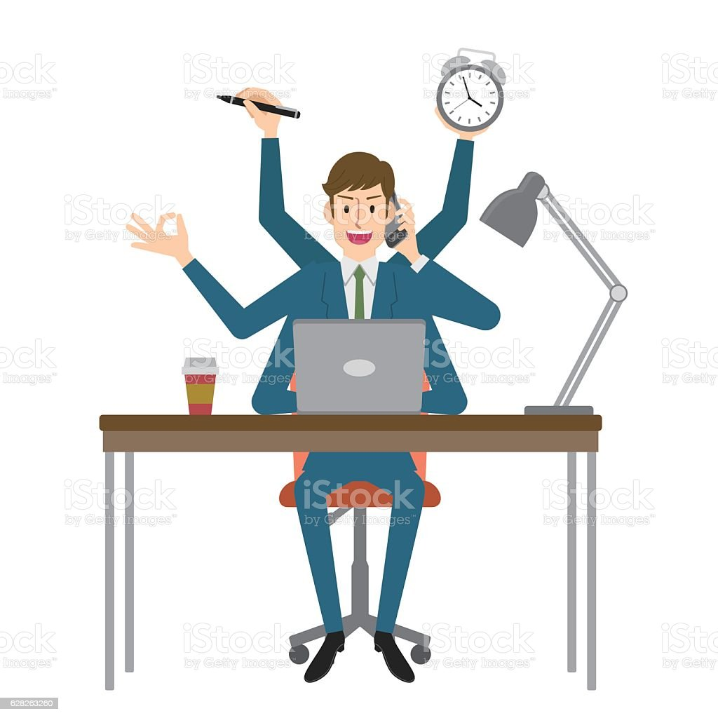 Multitasking businessman vector art illustration