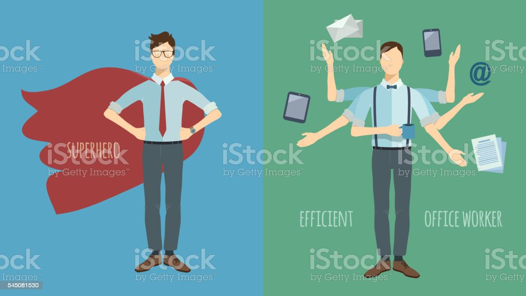 Multitasking businessman with six hands. Superhero. vector art illustration