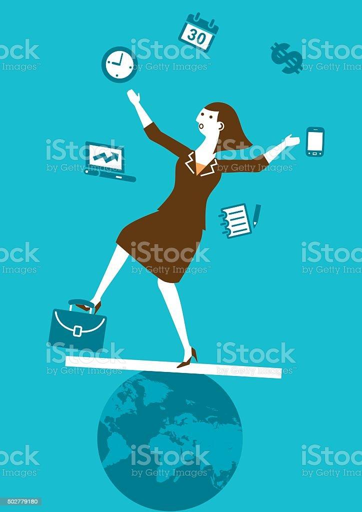 Multitasking Businesswoman Juggler | New Business Concept vector art illustration