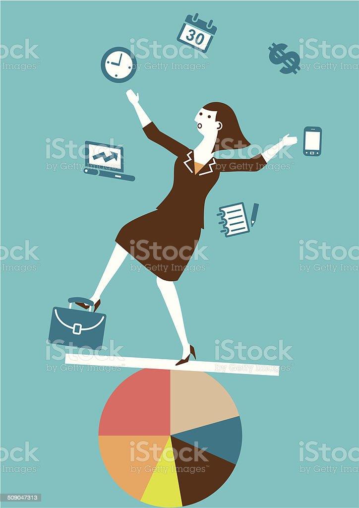 Multitasking (Juggling) Businesswoman | Yellow Business Concept vector art illustration