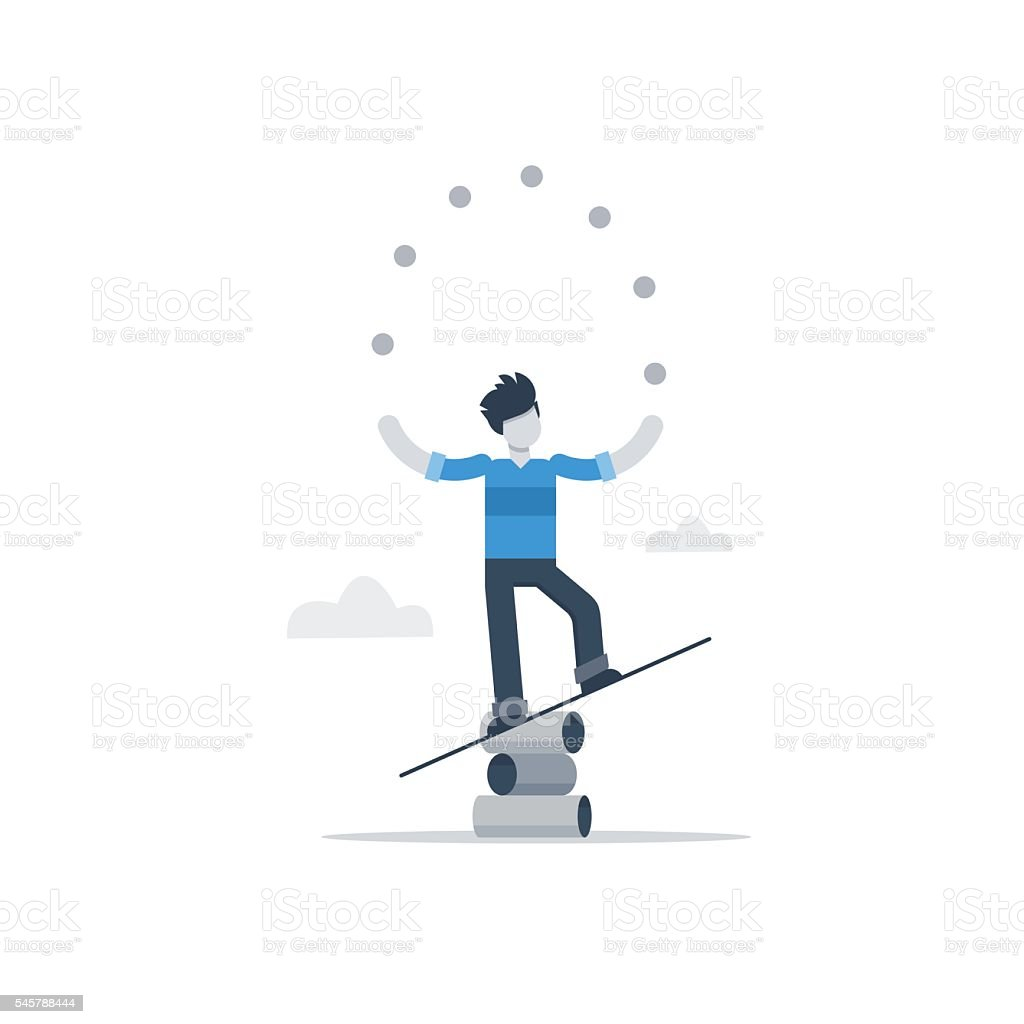 Multitasking concept, busy with business, training juggling, fun free time vector art illustration