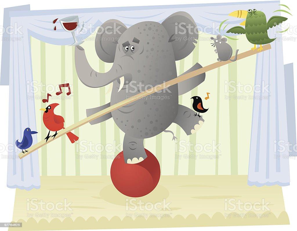 multitasking elephant vector art illustration