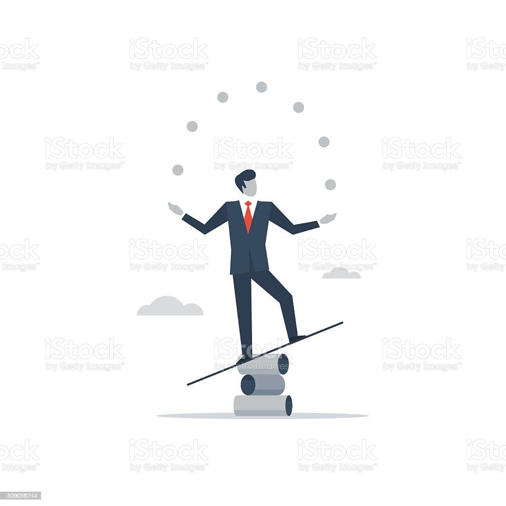 Multitasking manager vector art illustration