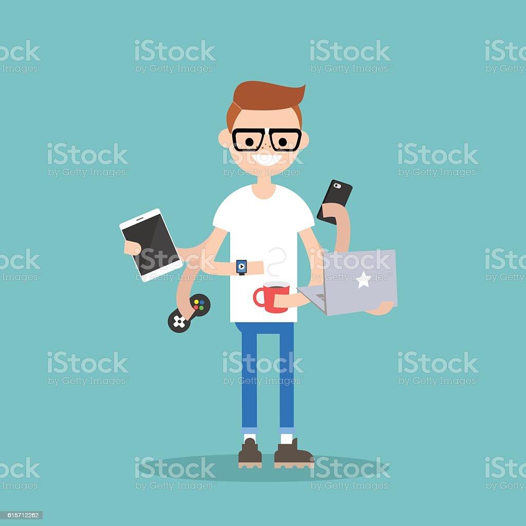 Multitasking millennial concept vector art illustration