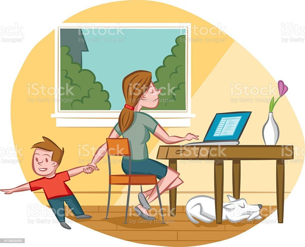 Multitasking Mom vector art illustration