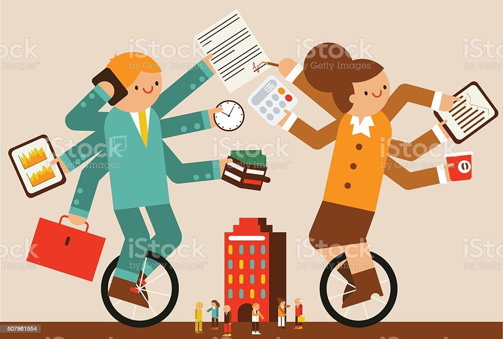 Multitasking vector art illustration