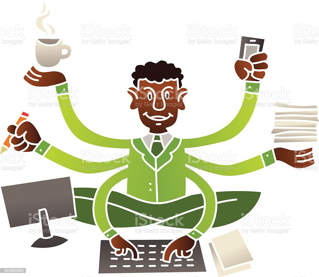 Multitasking vector art illustration