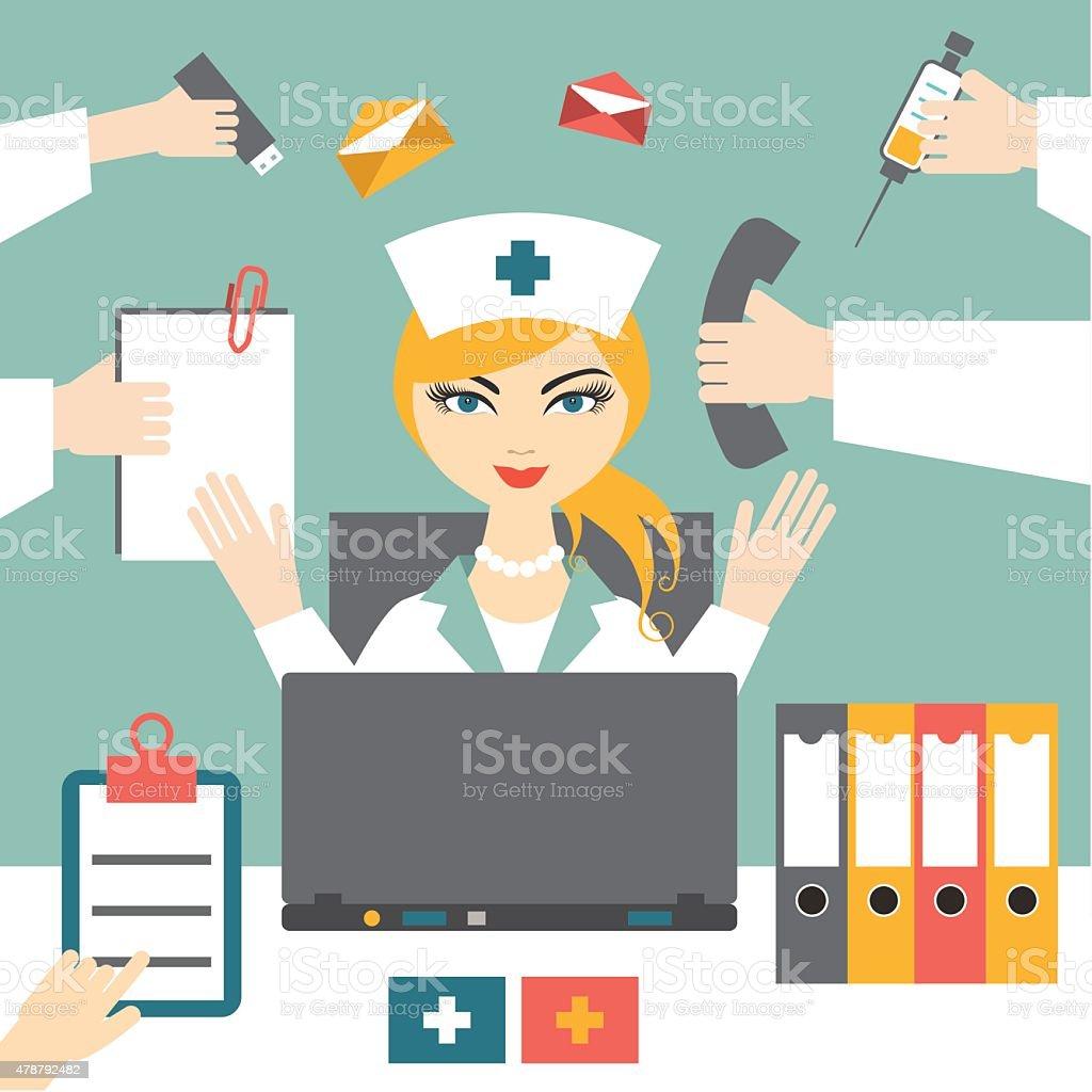 Multitasking woman nurse hard working. Busy medical woman. Flat design. vector art illustration