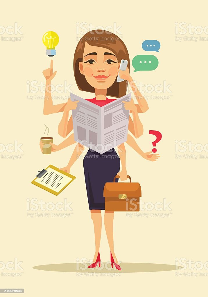 Multitasking woman. Vector flat cartoon illustration vector art illustration