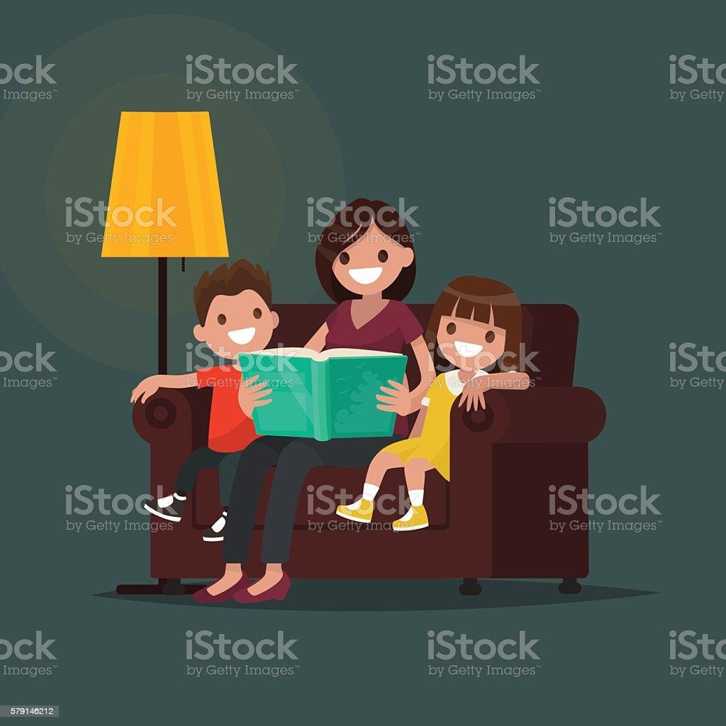 Mum reads the book to children. Vector illustration vector art illustration