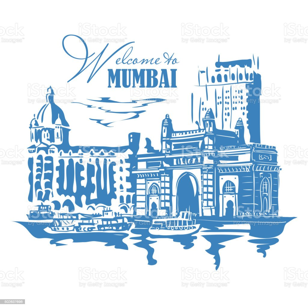 Mumbai, India Gate vector art illustration