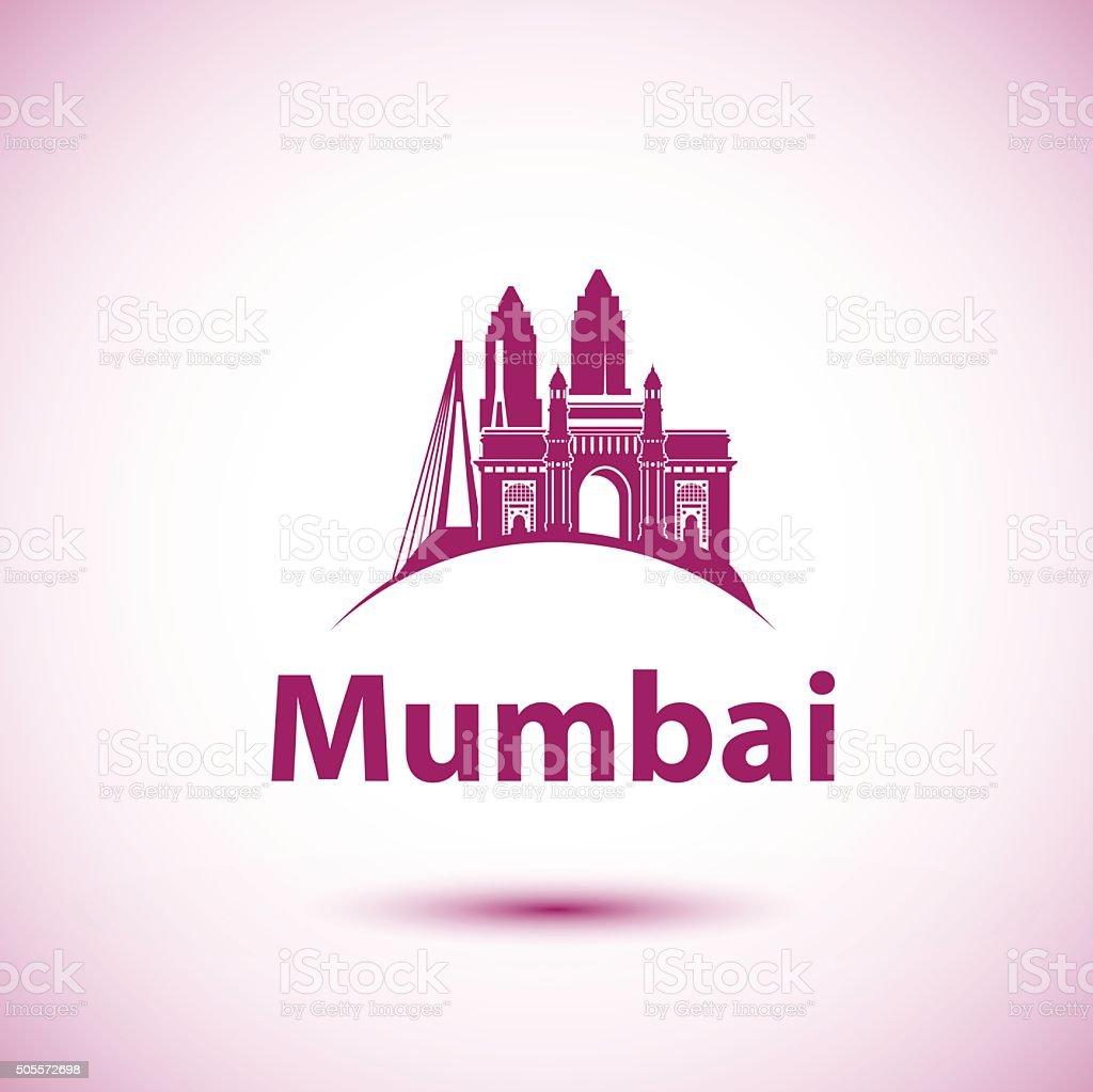 Mumbai, India skyline silhouette black vector design on white background. vector art illustration