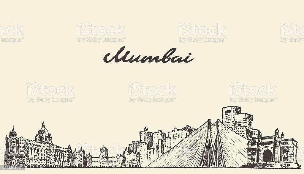 Mumbai skyline vector illustration drawn sketch vector art illustration