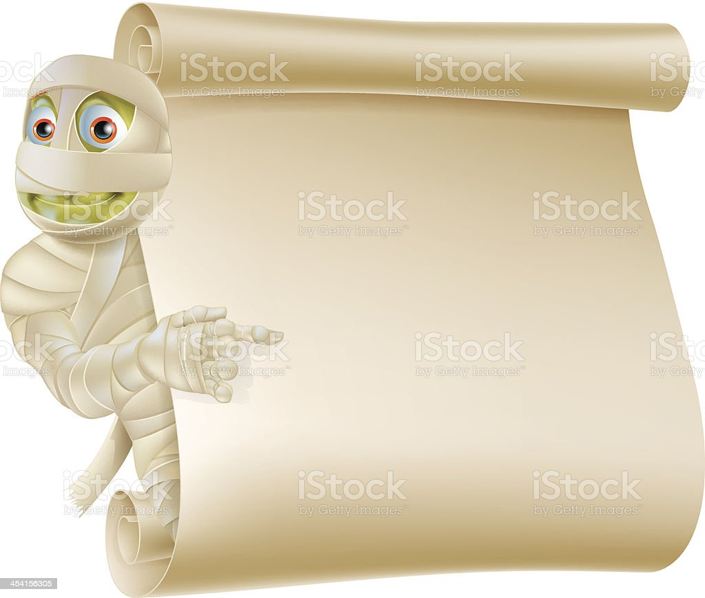 Mummy Halloween Monster Scroll Sign royalty-free stock vector art