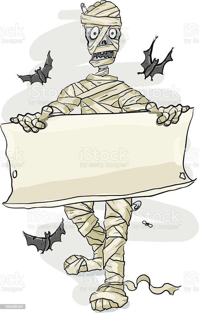Mummy Holding a parchment Sign, Halloween royalty-free stock vector art