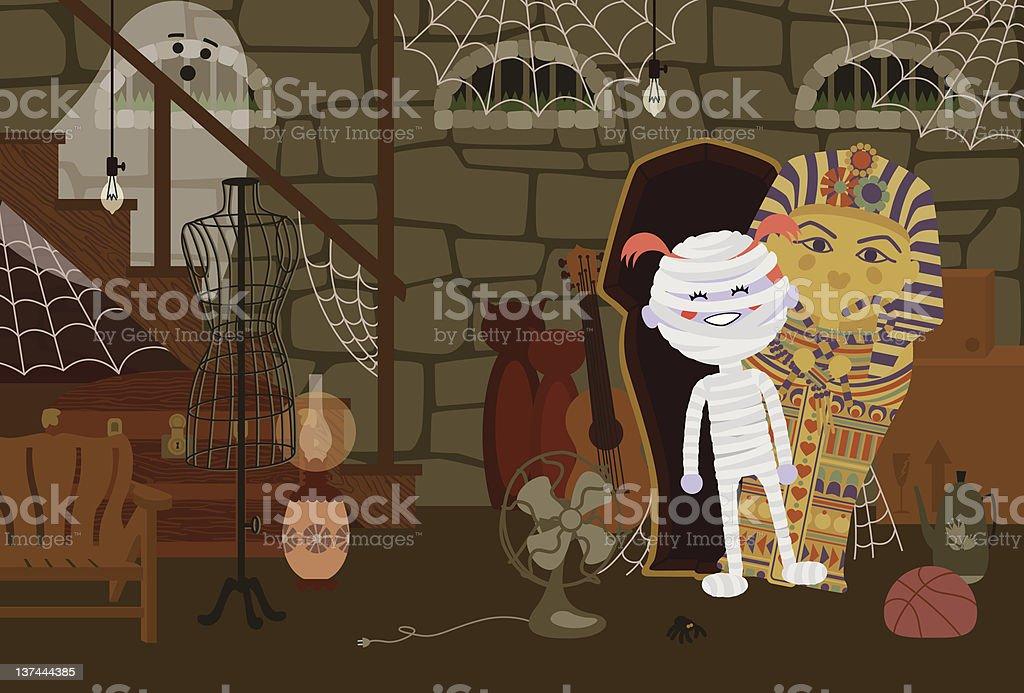 Mummy in the Basement vector art illustration
